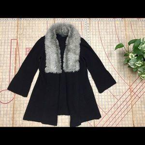 BCBGMAXAZRIA fur collar cardigan size small
